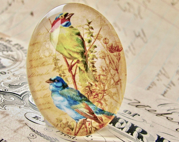 Pair of birds perched on a branch, from our Beautiful Birds collection of handmade glass cabochons, 40x30mm, blue, lime green