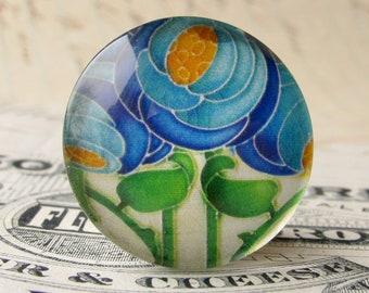 "NEW! From the ""Art Nouveau Ceramic Tiles"" series, handmade 25mm round glass cabochon, Belle Époque, blue flower"