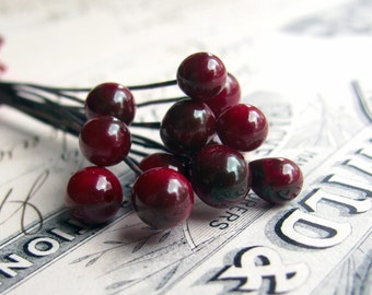 "Scarlet Red ""Opium"" handmade glass ball headpins, 7mm round, 3"" long copper wire, 22 gauge, crimson red, lampwork, cabernet (4 head pins)"