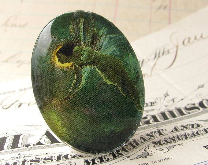 "Glass oval cabochon ""Absinthe Fairy"" artisan crafted, 40x30mm 30x40mm 30 40 40x30 emerald green fairy, loose cabochon, mystical magical"