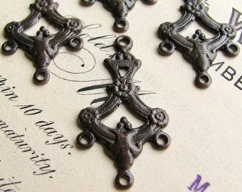 Regency floral garland chandelier earring link, 27mm, dark antiqued brass, 4 aged black earring drops, Fallen Angel Brass, SV, multi strand