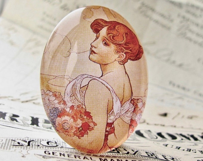 "From our Art Nouveau collection, Mucha's ""Summer"" print, The Seasons series, handmade 40x30 40x30mm, glass oval cabochon, art history"