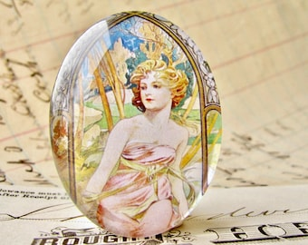 """From Alfons Mucha's """"Times of the Day"""" series, """"Morning Awakening"""", handmade 40x30 40x30mm glass oval cabochon,Art Nouveau collection"""