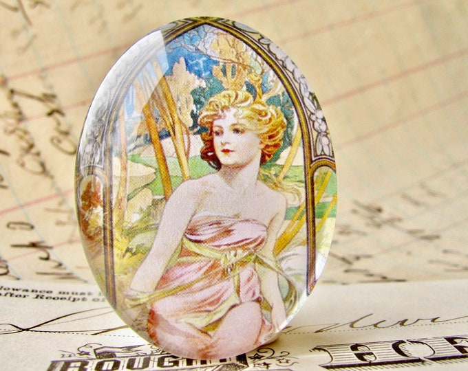 "From Alfons Mucha's ""Times of the Day"" series, ""Morning Awakening"", handmade 40x30 40x30mm glass oval cabochon,Art Nouveau collection"