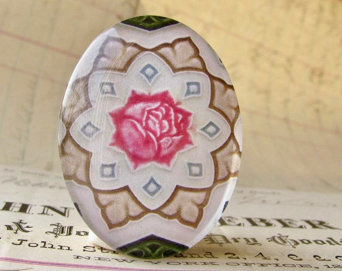 "NEW! From the ""Art Nouveau Ceramic Tiles"" series, handmade 40x30mm glass oval cabochon, Belle Époque, pink rose flower, green stem"