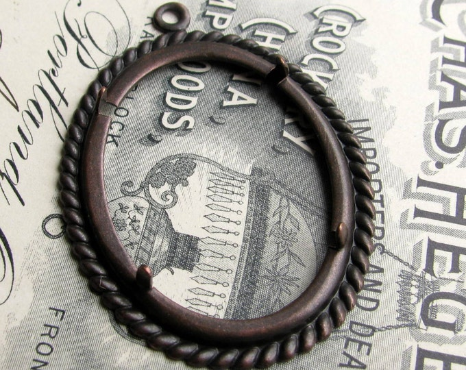 Rope edge 40x30mm 30x40mm, pronged oval setting, cameo cabochon frame, antiqued black brass mount, oval frame, 40x30 30x40, prong, CFSV026