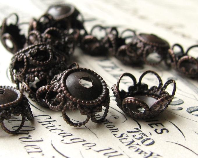 10mm bead cap, filigree flower, scalloped petals, black antiqued brass (6 bead caps) oxidized patina, nickel free, made in USA BC-UT-023