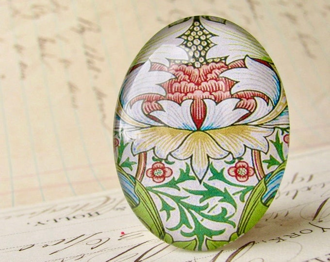 NEW! William Morris collection - flowers and foliage, 40x30mm glass oval cabochon, wallpaper, handmade in this shop, 40x30, Art Nouveau