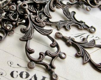 NEW! 34mm chandelier drop for earrings, black antiqued brass, (4 aged black earring links) multi strand dangle vintage style, four rings