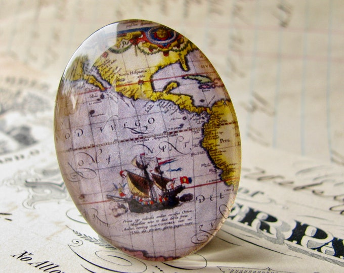 Historical Map, ship detail, vintage sailing map, travel, navigation, handmade oval glass cabochon, 25x18mm or 40x30mm