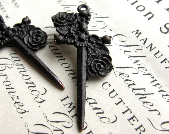 Black rose dagger (2) 40mm Gothic rosary cross pendants from Bad Girl Castings, antiqued black pewter, Medieval weapon, made in the USA