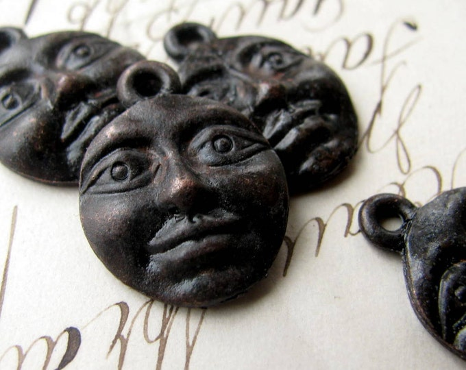 Harvest Moon face charm, Bad Girl Castings, 20mm, antiqued black pewter (4 charms) spiritual healing, night, women, oxidized, Boho charms