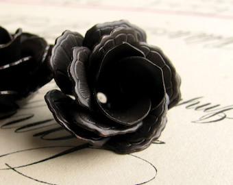 Exclusive to Fallen Angel Brass - Nesting bead caps, fully bloomed lacy black roses, black antiqued brass (2 bead cap sets) blackened brass