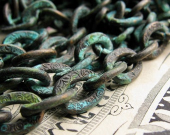 """New! Verdigris """"Tiffany"""" chunky chain, textured pattern (1 foot) 10x7mm heavy cable chain, blue green patina on antiqued black brass chain"""