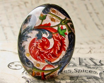 Florentine paper flourish, 40x30mm handmade glass oval cabochon, 40x30 30x40 30x40mm 40 30 mm, decorative red swirl