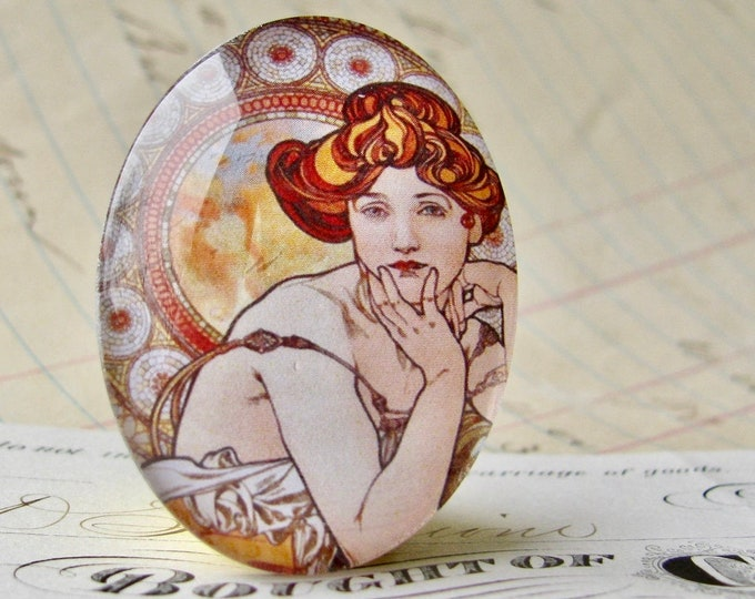 """NEW! From Alfons Mucha's """"Precious Gemstones"""" series, """"Topaz"""", handmade 40x30mm glass oval cabochon, Art Nouveau collection"""