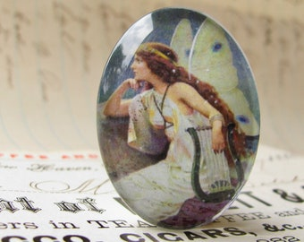 Night Fairy cabochon, long hair, handmade glass oval, 40x30mm, ethereal, harp, from our Magical Maidens collection, handmade in this shop