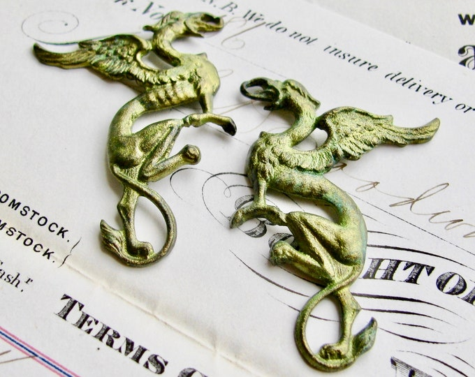 New! Absinthe finish, Griffin pair, 35mm green patina brass pendant, left right (2 dragon drops) Gothic symbol