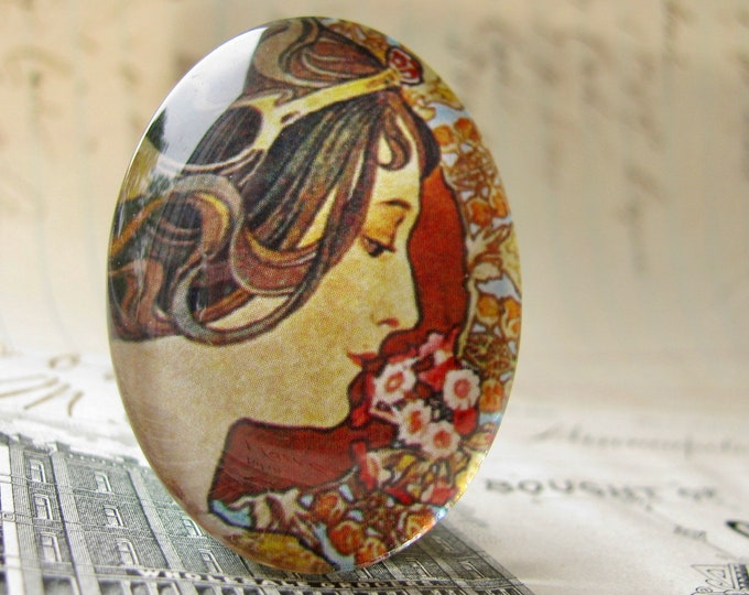 "Art Nouveau glass oval cabochon, from Alfons Mucha's ""Feather and Primrose"" panels, handmade 40x30 40x30mm 30x40mm"