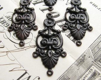 Decorative chandelier earring link, 35mm, dark antiqued brass (4 connectors) aged, black earring drop, oxidized patina, multi strand, SV