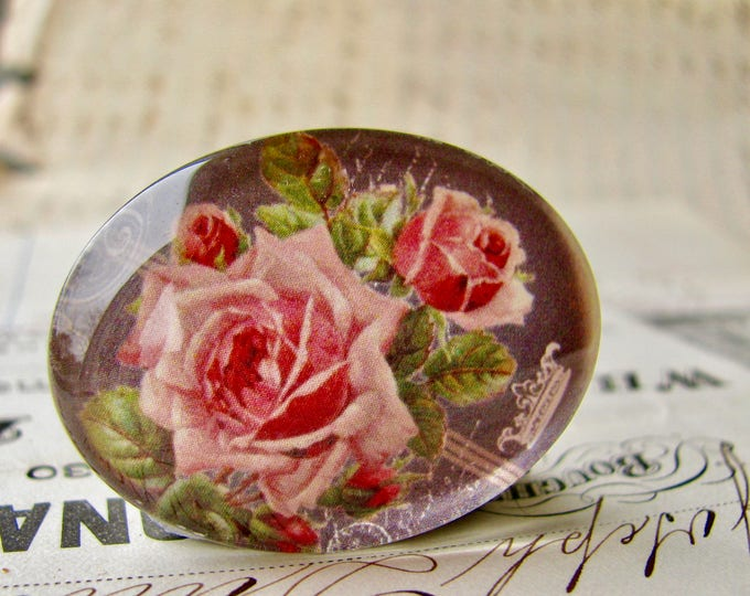 Vintage chalkboard with pink roses, handmade glass cabochon, 40x30mm, sideways oval, horizontal image, Fabulous Florals collection