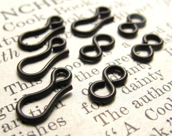 Tiny hook and eye set, 11mm hook and 8mm eye, black antiqued brass (4 sets) oxidized brass, infinity link