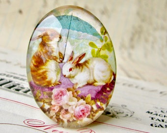Bunny picnic in the rain, oval glass cabochon, 40x30mm - 25x18mm, handmade in this shop, rabbit, pink roses, tea time, green spring picnic,