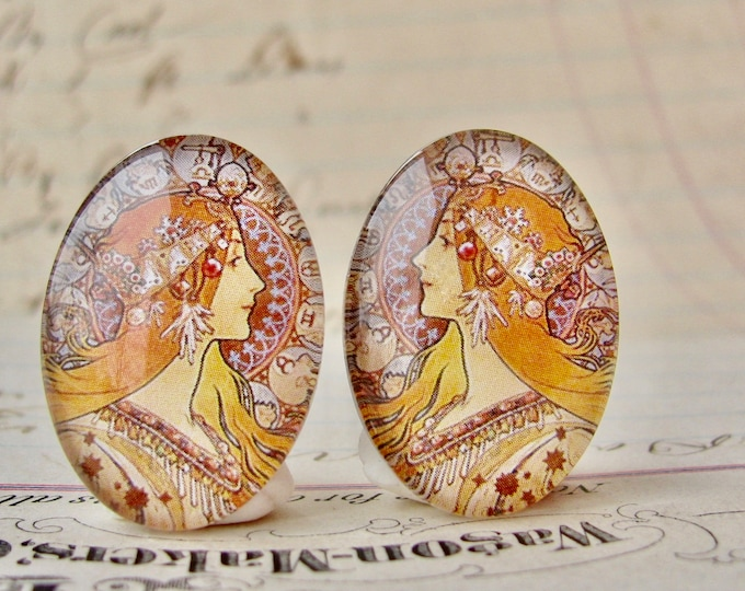 """New! Mirrored pair of Mucha's  """"Zodiac"""" print, Zodiaque, 1896, handmade cabochons, 25x18mm, glass oval face cabochon, orange, Art Nouveau"""