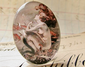 Mermaid cabochon, vintage magazine cover, handmade glass oval, 25x18mm or 40x30mm vintage illustration drawing, Magical Maidens collection