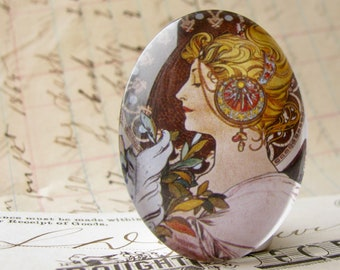 """From Alfons Mucha's """"Feather and Primrose"""" panels, handmade 40x30 40x30mm glass oval cabochon, Art Nouveau, 30x40mm"""