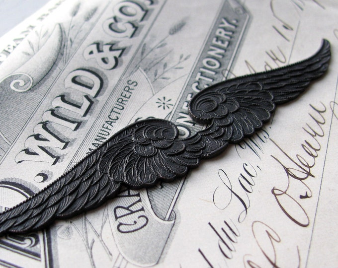 Double Angel wings, dark antiqued brass, aged black patina, large flat sturdy long thin stamping, lead nickel free, made in the USA