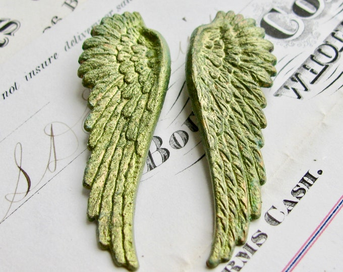 "Absinthe finish, shimmering green patina brass angel wings ""Seraphim"" 53mm, 1 pair, guardian angel, green fairy wings"