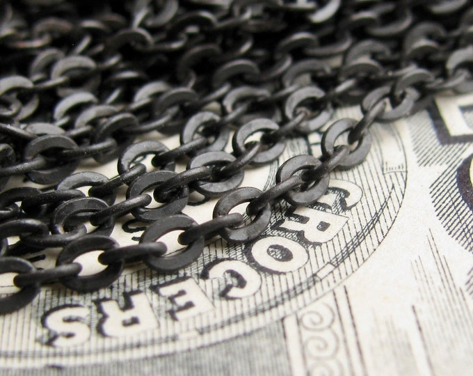 "Delicate chain ""Klimt"" Petite flat cable necklace chain, bulk black brass, soldered links, 3x2mm, black patina (per foot) matte black chain"