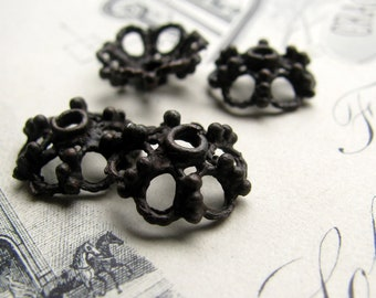 10mm rustic bead cap from Bad Girl Castings - dark, distressed, aged black pewter beadcsps (4) black oxidized pewter BC-SG-037