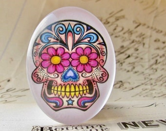 Sugar Skull, handmade 40x30mm or 25x18mm glass oval cabochon, Mexican Day of the Dead, Halloween, Latino art, Dia de los Muertos, flowers