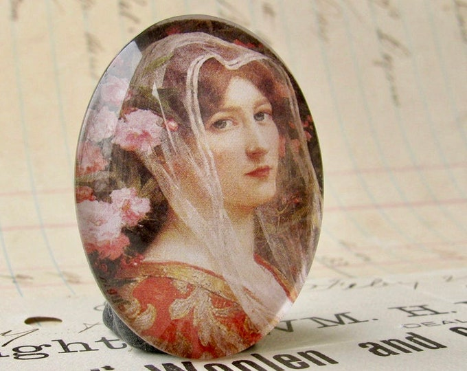 Art Nouveau, Élisabeth Sonrel, handmade 40x30mm glass oval cabochon, floral, orange, flower veil, woman face profile