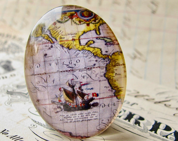 Historical Map, purple ship map detail, vintage sailing map, travel, handmade oval glass cabochon, 40x30mm or 25x18mm