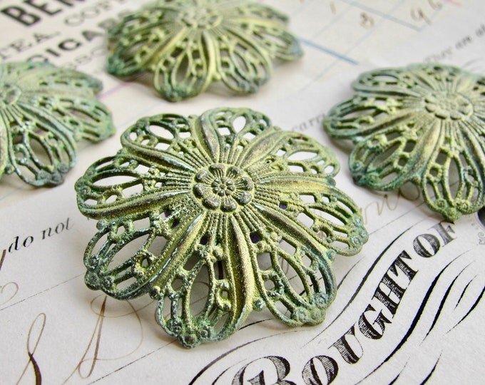 New! Absinthe green patina, Tiffany style domed flower filigree ornament, 35mm, antiqued brass, Art Nouveau, artisan finish, green fairy