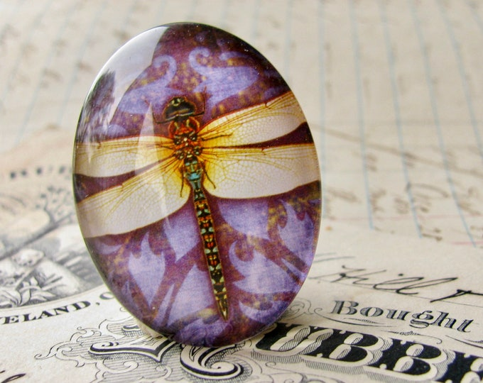Yellow dragonfly with purple background, 40x30mm or 25x18mm handmade glass oval cabochon, insect, bug, garden, Winged Wonders collection