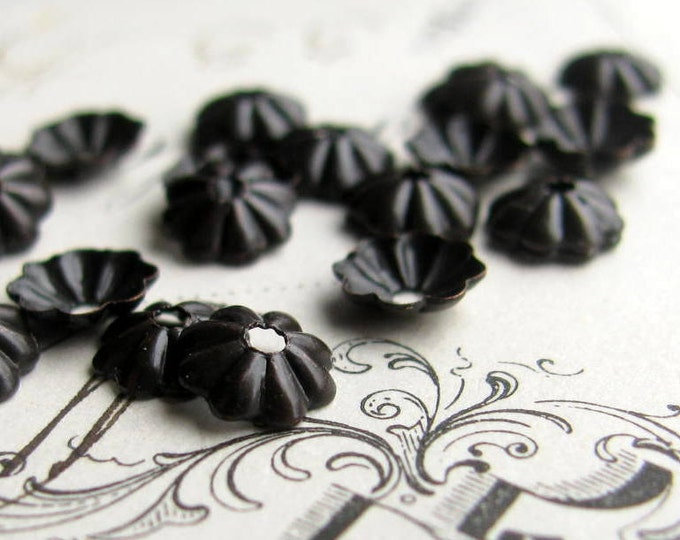 5mm bead cap - antiqued black brass bead caps (50) mini, small, tiny dark aged patina, made in the USA, lead nickel free, brass daisy