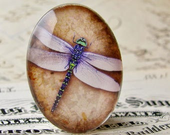 Purple dragonfly cabochon on brown wallpaper, artisan crafted, handmade in this shop, 25x18mm or 40x30mm, oval glass cabochon, Winged Wonder