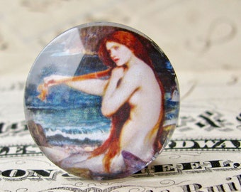 "John William Waterhouse ""A Mermaid"" 25mm glass cabochon, handmade in this shop, Art History collection, 1 inch circle, bottle cap size"