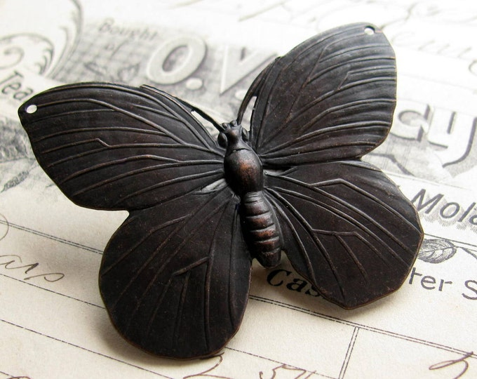 Large black butterfly pendant link (52mm) antiqued brass, drilled holes, dark patina, lead nickel free, made in the USA, oxidized