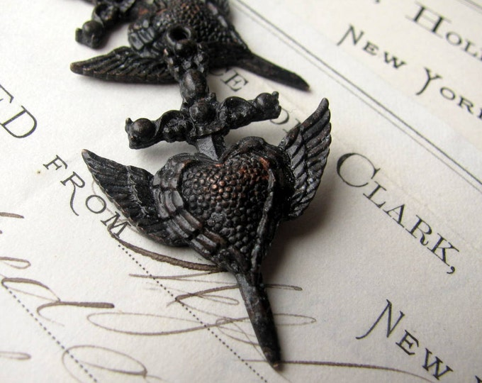 Winged heart dagger, (2) 40mm Gothic rosary cross pendants from Bad Girl Castings, antiqued black pewter, wings, dark ages CH-SC-039