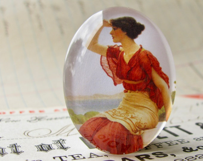 "John William Godward ""The Signal"" 40x30mm glass oval cabochon, artisan crafted in this shop, fine art cabochon, red, woman, Art History"