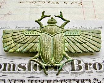 New! Absinthe finish, Egyptian scarab beetle with wings, green patina antiqued brass, verdigris highlights, 70mm, Art Deco, ancient symbol