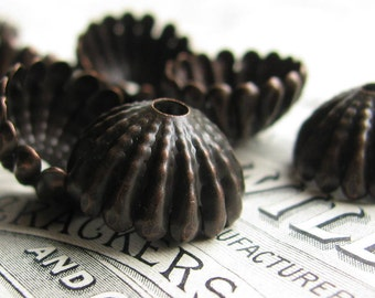 Large sea urchin, 15mm domed beadcap (4 black bead caps) dark antiqued brass, tassle top, ridged hemisphere, aged patina, BC-SG-029