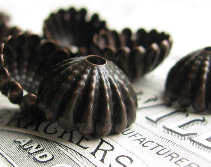 Large sea urchin, 15mm domed beadcap (4 black bead caps) dark antiqued brass, tassle top, ridged hemisphere, aged patina, BC-SG-029