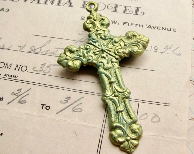 Absinthe finish, green patina cross pendant, large rosary cross, solid brass, artisan crafted, made in the USA