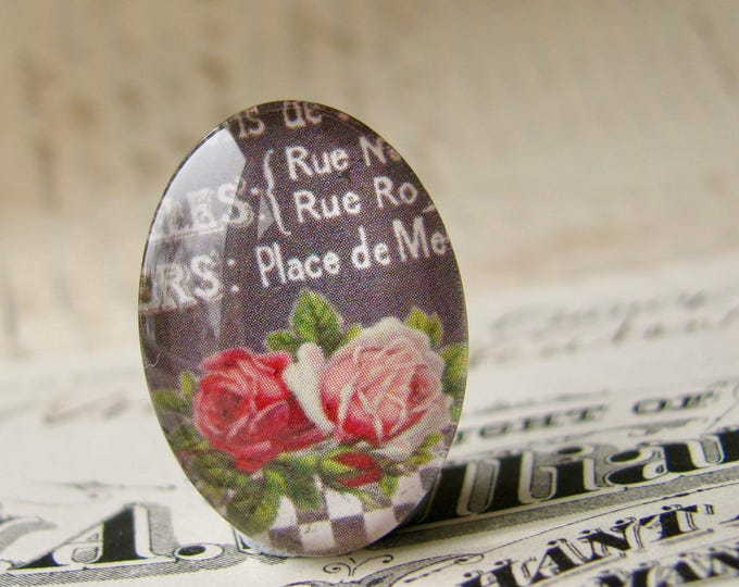 25x18mm glass oval cabochon, pink roses on a blackboard menu, handmade in this shop, Fabulous Floral collection, vintage French menu flowers